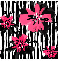 Floral hand painted expressive pink ink and vector