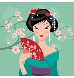 geisha with a fan vector image