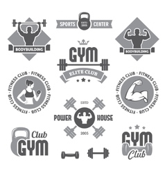Monochrome gym labels vector image vector image