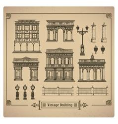 Retro buildings vector image
