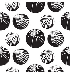 silhouette circles and palm leaves black seamless vector image vector image
