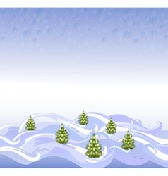 The background landscape with Christmas trees and vector image