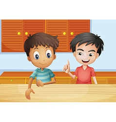 Two men inside the kitchen vector image vector image