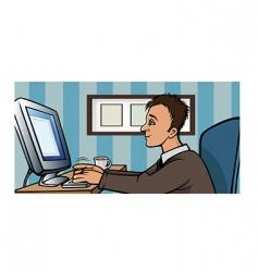 man computer blogging vector image