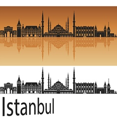 Istanbul skyline in orange vector