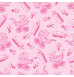 pattern from pacifier pram and baby bottle vector image vector image