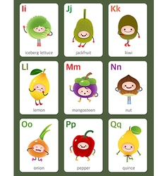 Printable flashcard English alphabet from I to Q vector image vector image
