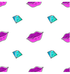 seamless pattern of lips and diamond vector image