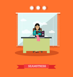 Seamstress sewing on vector