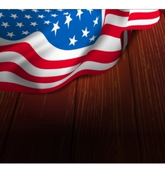 US flag on a wooden floor vector image