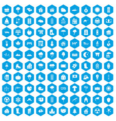 100 country house icons set blue vector