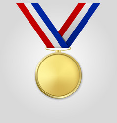3d realistic gold award medal with color vector