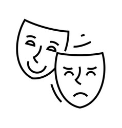 acting mask line icon acting mask concept outline vector image