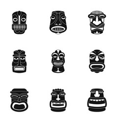 african face icons set simple style vector image