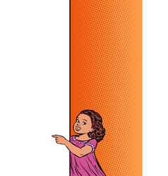 african girl daughter child point to copy space vector image