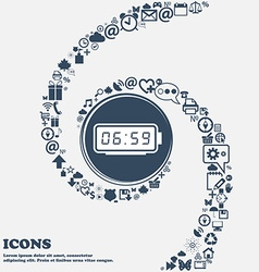 alarm clock icon in the center Around the many vector image