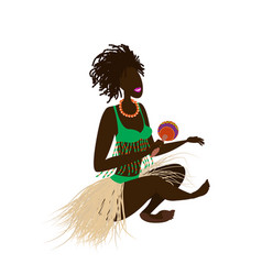 An african girl with dreadlocks in ethnic vector