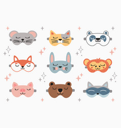 animal sleep mask set stock vector image