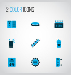 beverages icons colored set with cocktail with vector image
