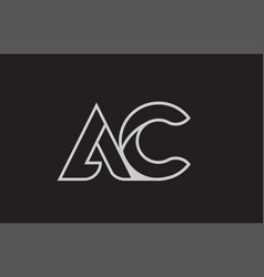 Black and white alphabet letter ac a c logo vector
