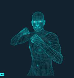 Boxer fighting man 3d model of man vector