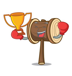 Boxing winner mallet mascot cartoon style vector