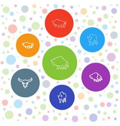 buffalo icons vector image