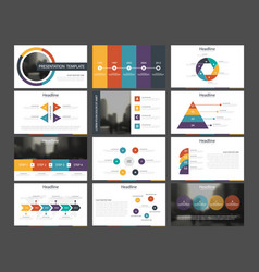 Bundle infographic elements presentation template vector