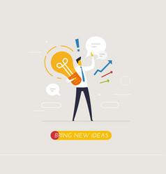 Businessman holding a light bulb offers new ideas vector