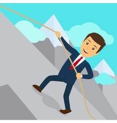 Businessman uphill climb vector