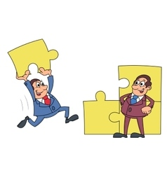 Businessmen solving puzzle 2 vector