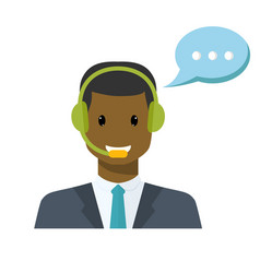 Call center avatar in a flat style with a headset vector