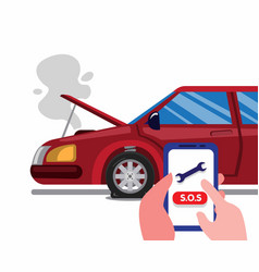 Call roadside emergency assistance use smartphone vector
