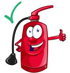 Cartoon mascot fire extinguisher vector
