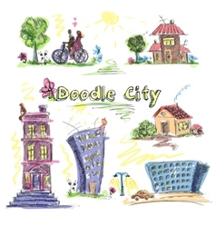 City doodle set colored vector