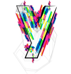 Colorful Font - Letter y vector