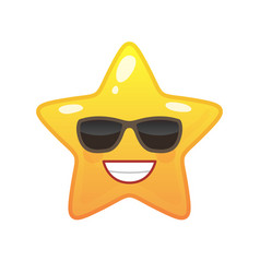 Confident star shaped comic emoticon vector