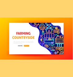 countryside neon landing page vector image