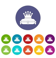 Crown king set icons vector
