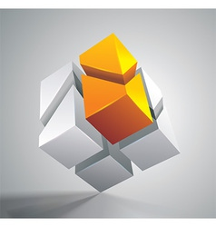 Cube grey orange vector image