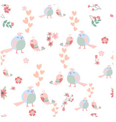 cute cartoon bird couple seamless pattern vector image