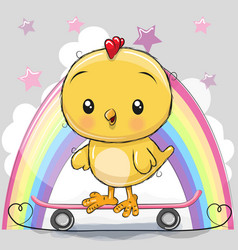 Cute cartoon chick with skateboard vector