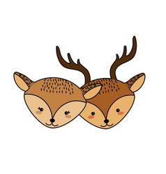 cute deer head animal couple together vector image