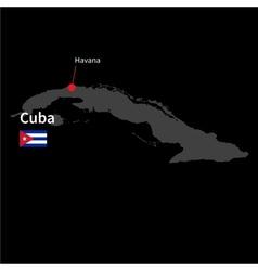 Detailed map cuba and capital city havana vector