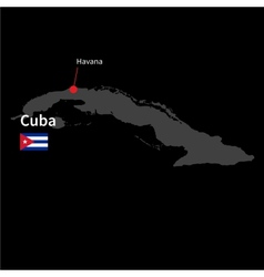 Detailed map of Cuba and capital city Havana with vector