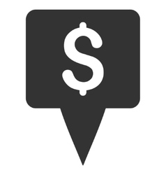 Dollar Map Pointer Flat Icon vector image