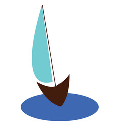 Drawing a blue sailor boat floating on the vector