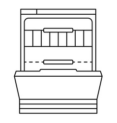 Empty dishwasher icon outline style vector