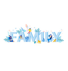 Family letters with small family members figures vector