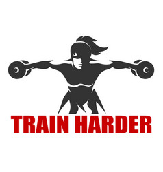 Fitness emblem with slogan train harder vector